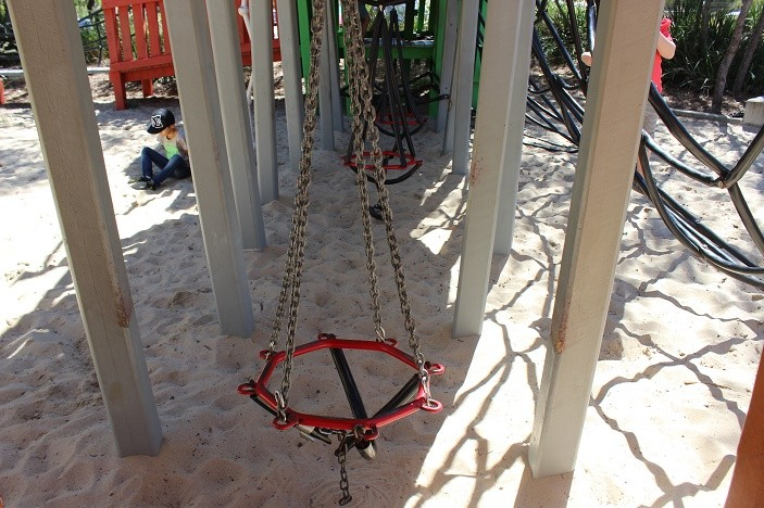 playground swings at hidden world