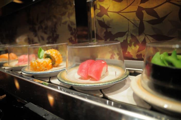 Sushi on conveyor belt train