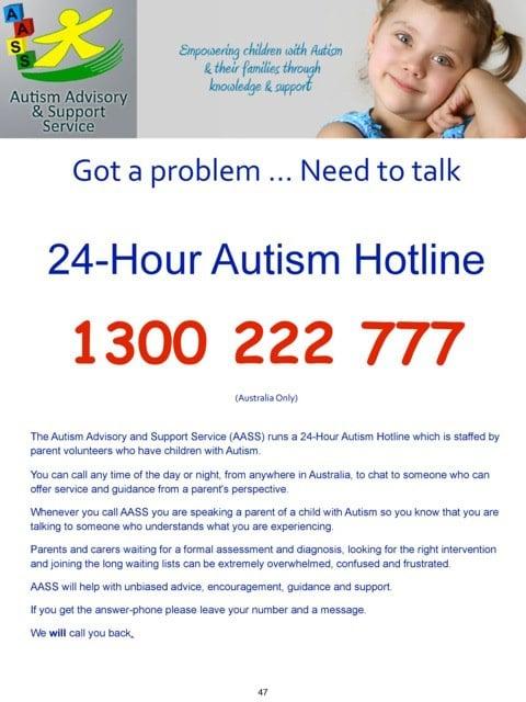 autism hotline australia