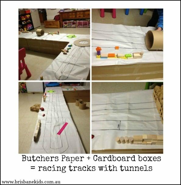 cardboard box race track