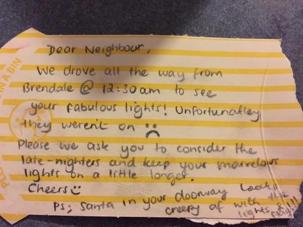 rude christmas lights letter