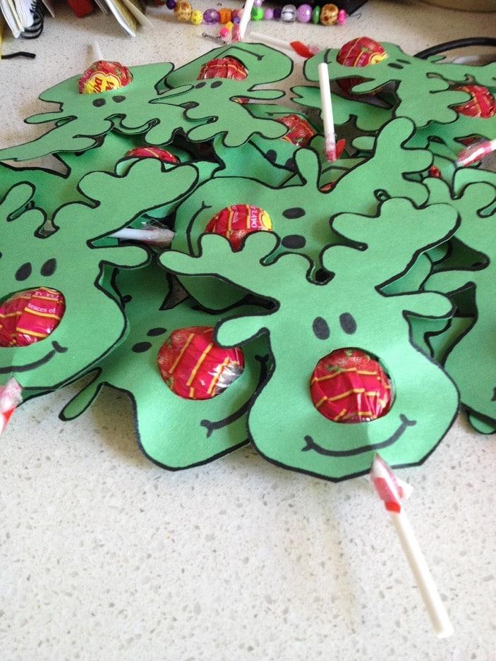 Reindeer face lollypops