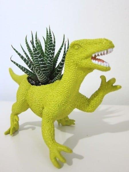 dinosaur plant holder