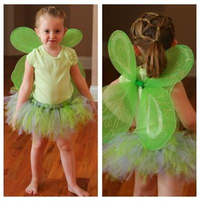 DIY green Tinker bell no sew Halloween costume