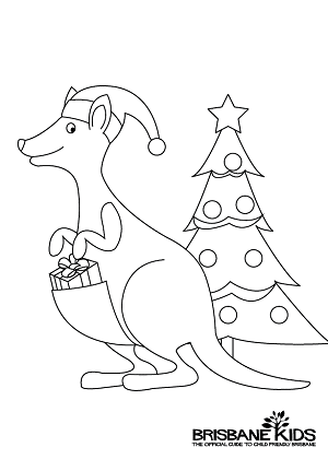 Christmas colouring sheets themed with australian animals for Australian animal coloring pages