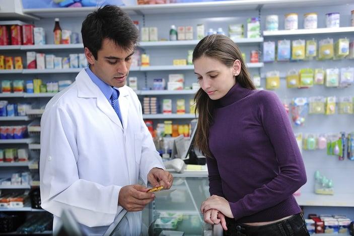 Customer and pharmacist
