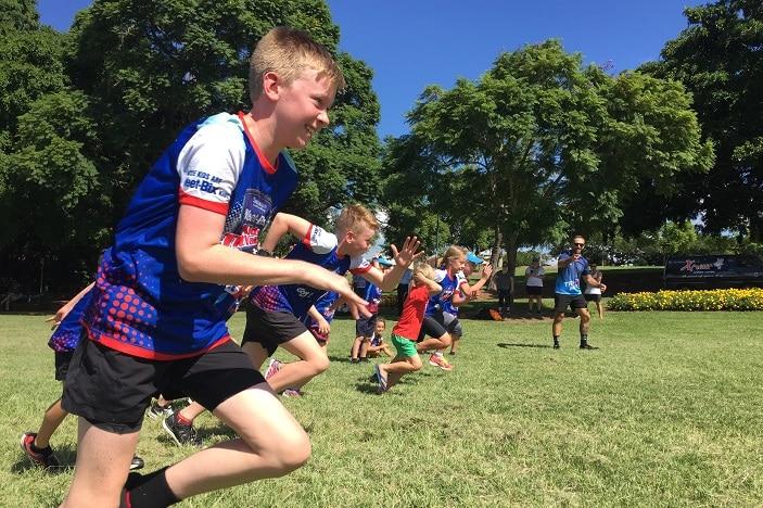 kids running a race, commando, tryathlon