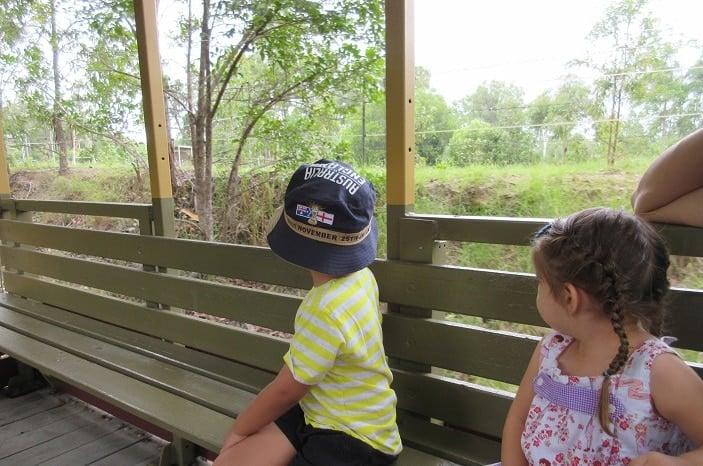 kids enhaling country air on woodford railway
