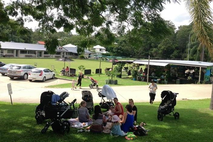 Families having a picnic